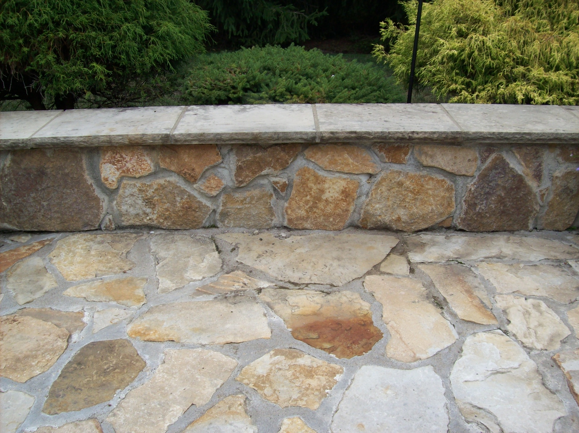Sand Stone Patio with Wall