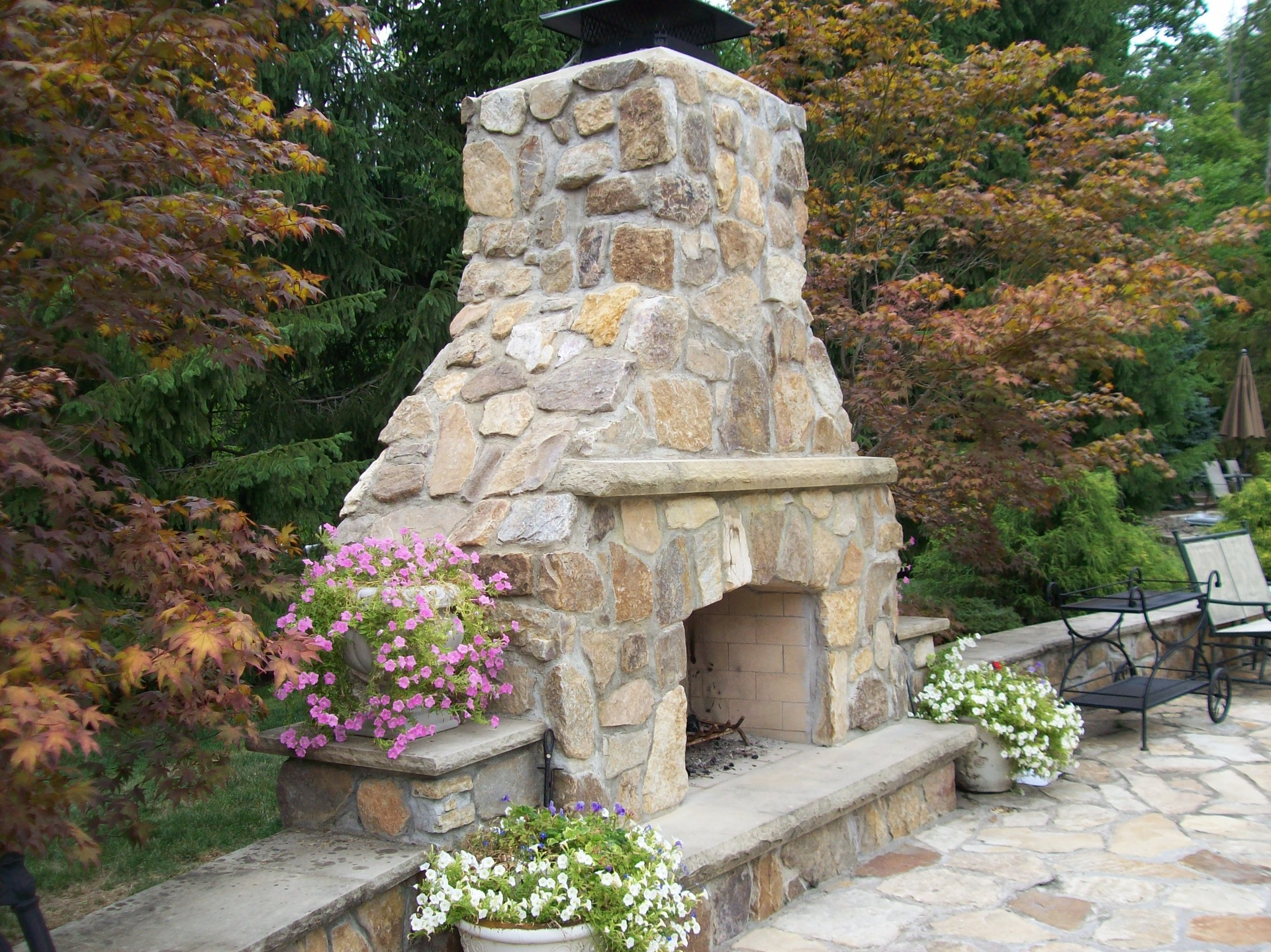 Sand Stone Outdoor Fireplace