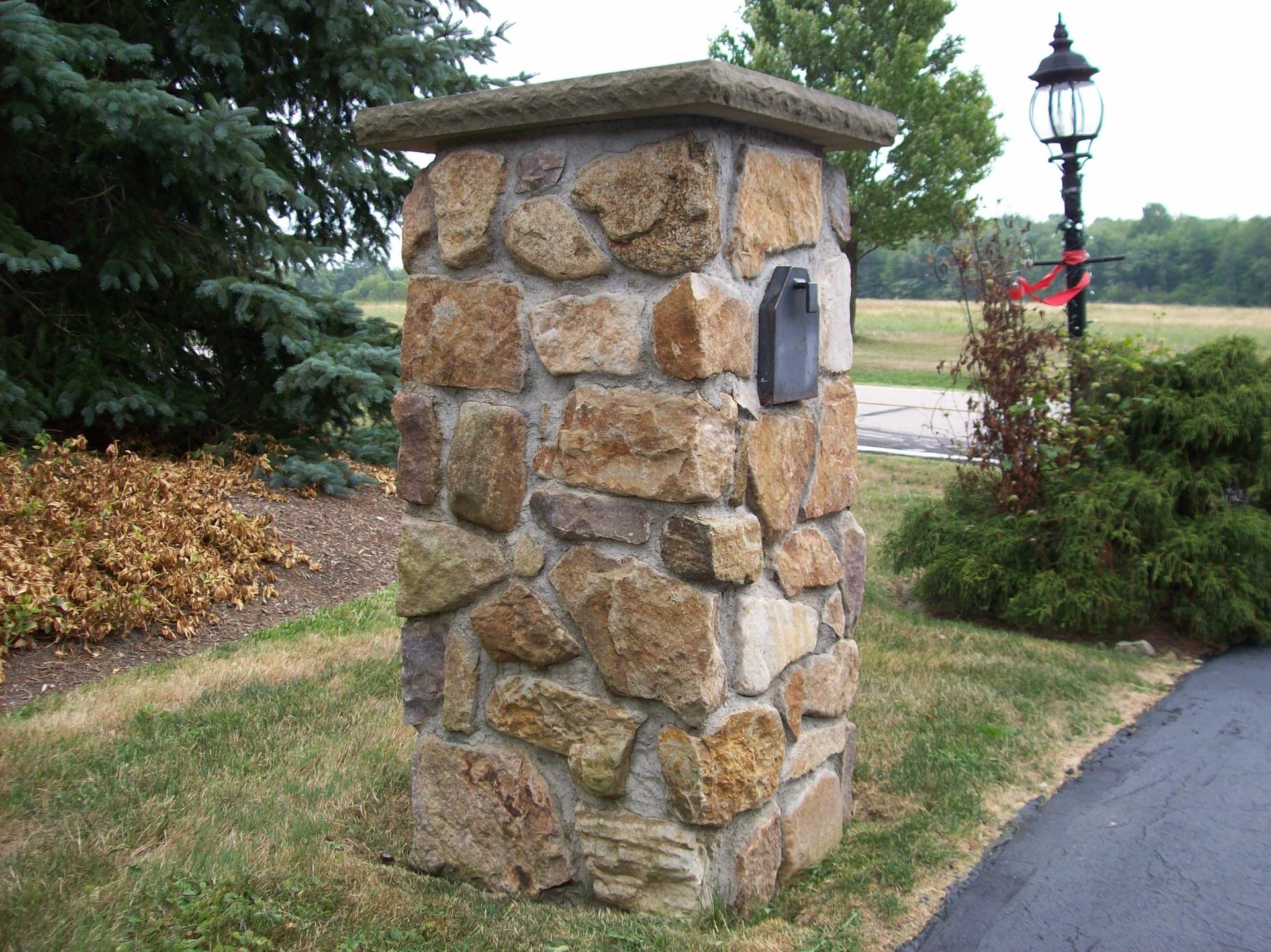 Sand Stone Pillar with Mailbox